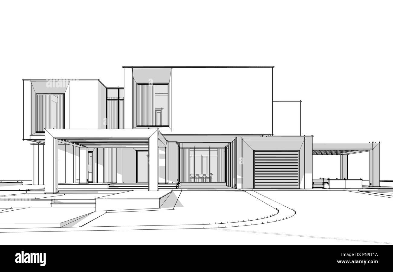 3D Skizze der modernen gemütliches Haus am Fluss mit