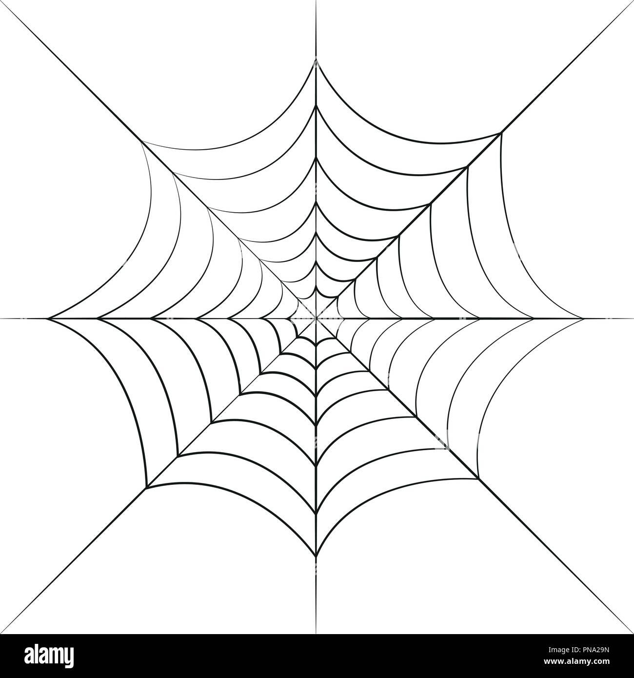 Spinnennetz schwarz auf weißem Hintergrund Vektor-illustration EPS 10 isoliert Stockbild