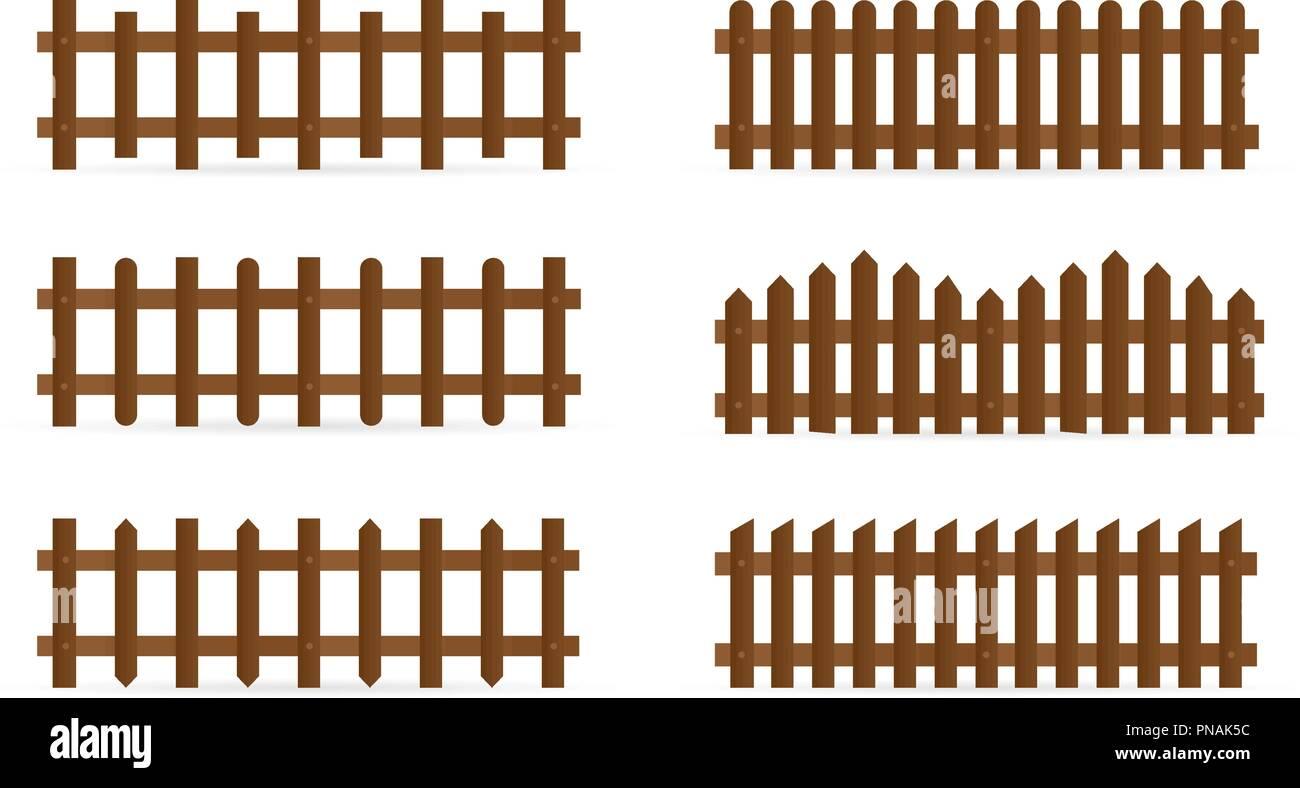 Vektor einrichten von verschiedenen Formen Ländliche Zäune. Isolierte detaillierte elemente für garten Illustration Design Stockbild