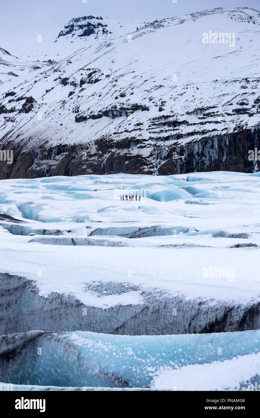 Gruppe der Touristen zu Fuß auf Abenteuer Trek auf Svinafellsjokull Gletscher eine Steckdose Gletscher Vatnajökull, South Island Stockfoto