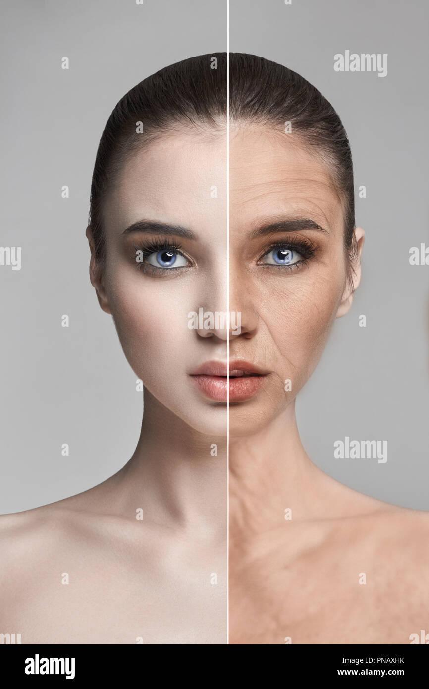 d2e07f1648e7 Hautalterung, Falten, Frau Gesichtsverjüngung. Hautpflege, Erholung ...