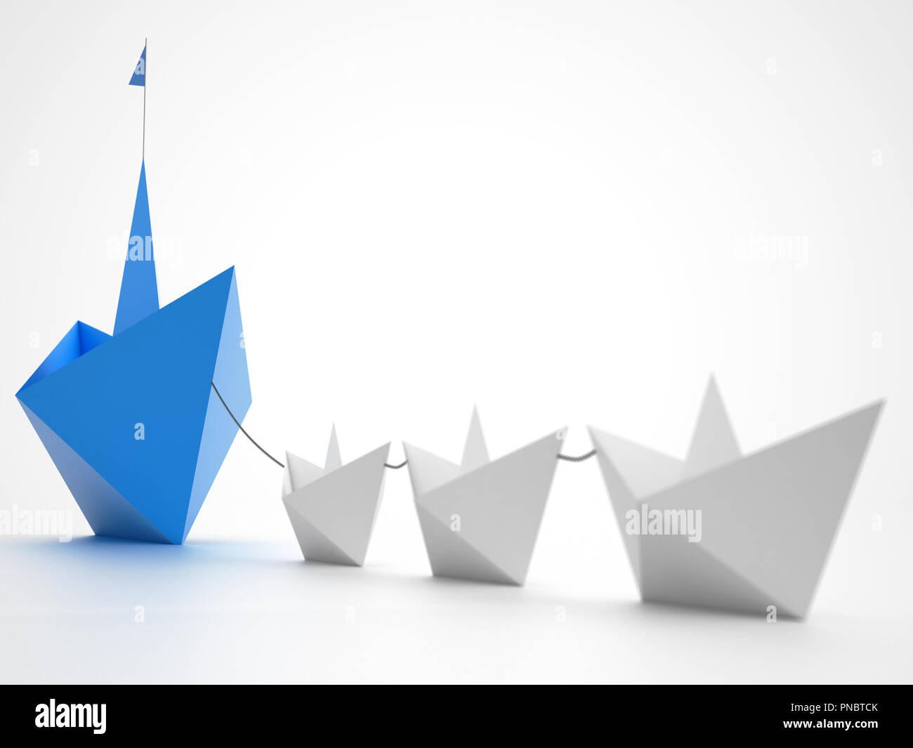 Einigkeit macht stark. Kleines Papier Boote, Ziehen eines größeren Schiff. Konzept der Teamarbeit und der Allianz. 3D-Rendering Stockbild