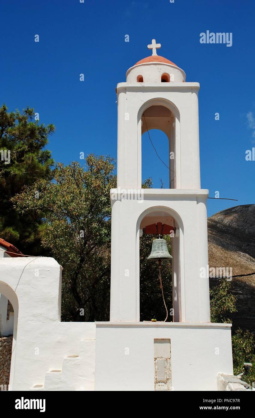 Die Kirche des Erzengels Michael auf Megalo Chorio auf der griechischen Insel Tilos. Stockbild