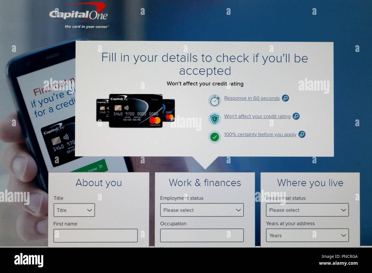 Screengrab, Capital One credit card Application website