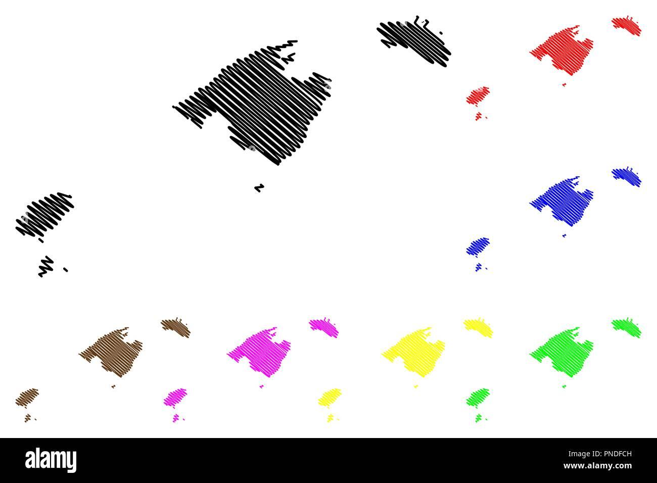 Ibiza Karte Umriss.Balearen Spanien Autonome Gemeinschaft Karte Vektor Illustration