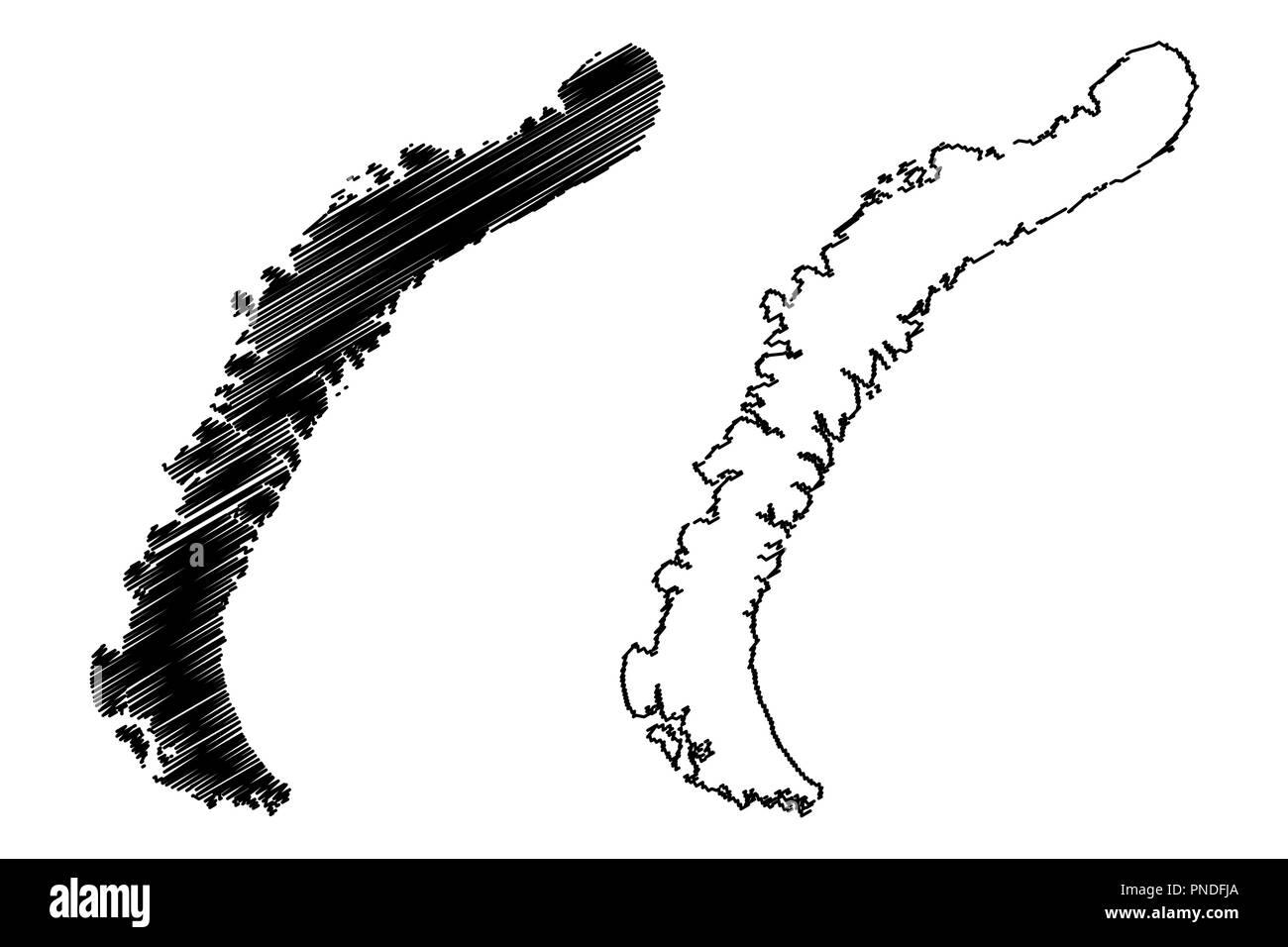 Nowaja Semlja (Archipel von Russland, Severny Insel und Yuzhny Insel) Karte Vektor-illustration, kritzeln Skizze Nova Zembla Karte Stock Vektor