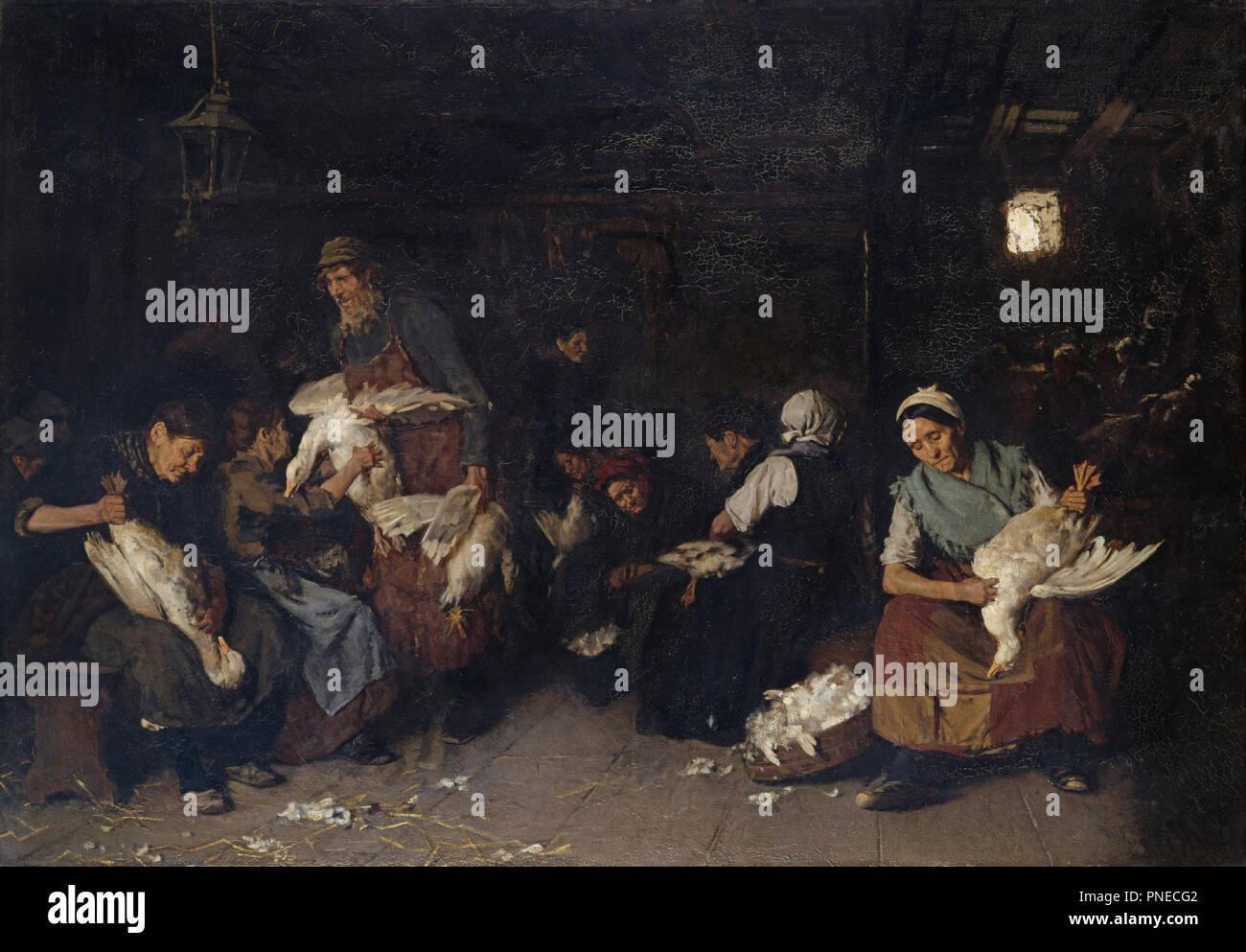 Gänserupferinnen/Frauen zupfen Gänse. Datum/Zeitraum: von 1871 bis 1872. Malerei. Öl auf Leinwand. Höhe: 119,5 cm (47 in); Breite: 170,5 cm (67,1 in). Autor: Max Liebermann. LIEBERMANN, MAX. Stockfoto