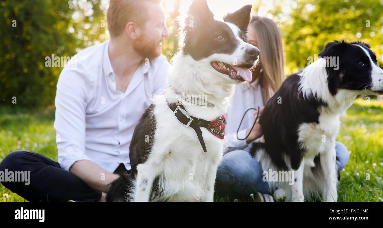 Ein junges Paar zu Fuß ein Hund im Park Stockbild