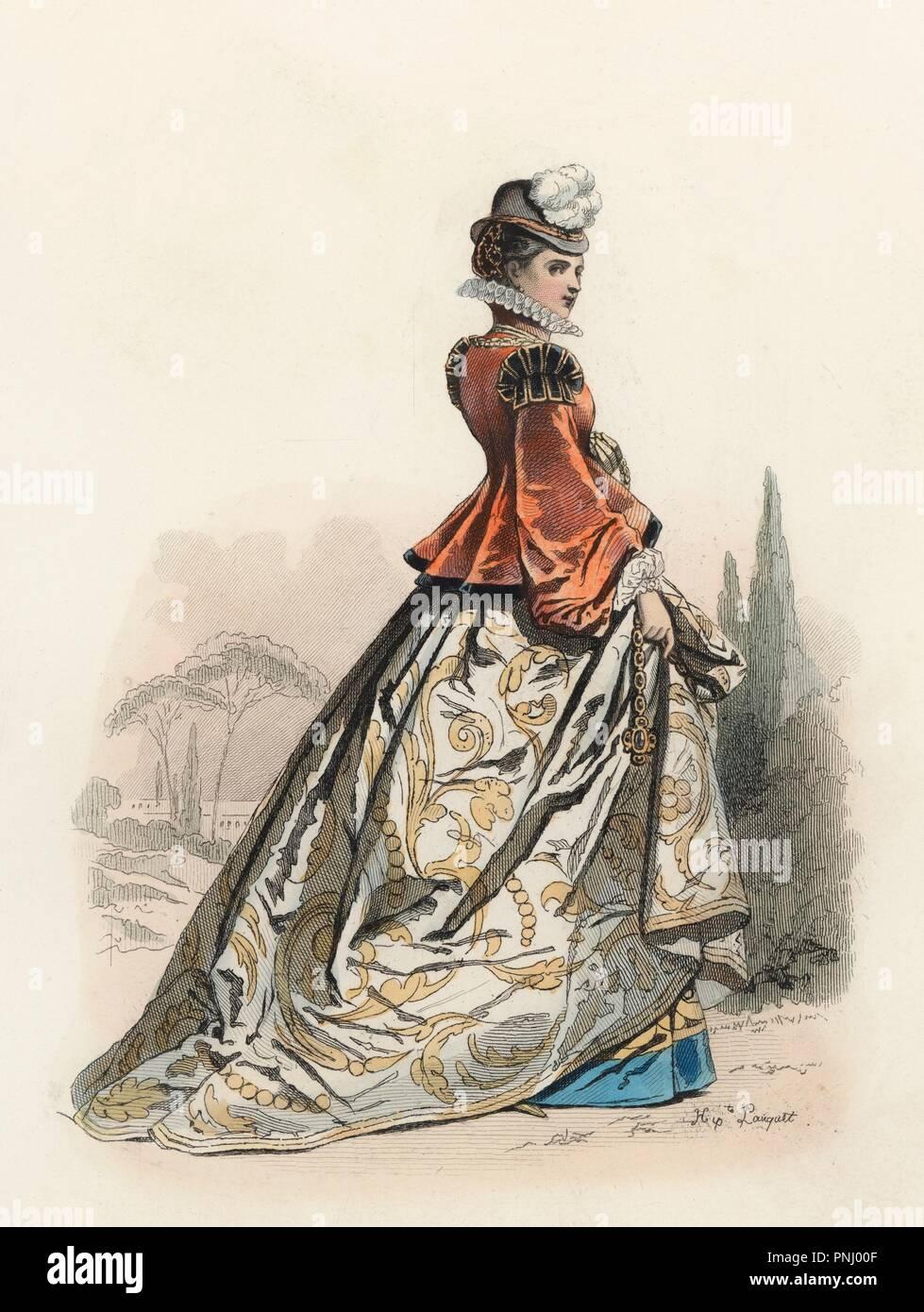 Edle Dama Vicentina En La Edad Moderna Grabado En Farbe De 1870