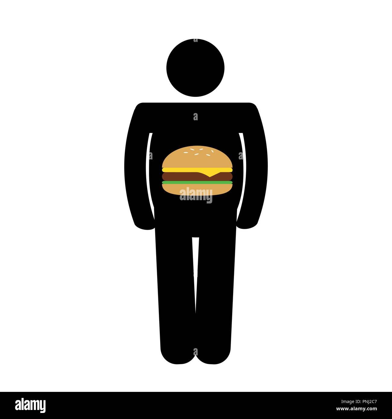 Fat Man haben eine ungesunde Fast Food Burger im Bauch Piktogramm Vektor-illustration EPS 10. Stockbild