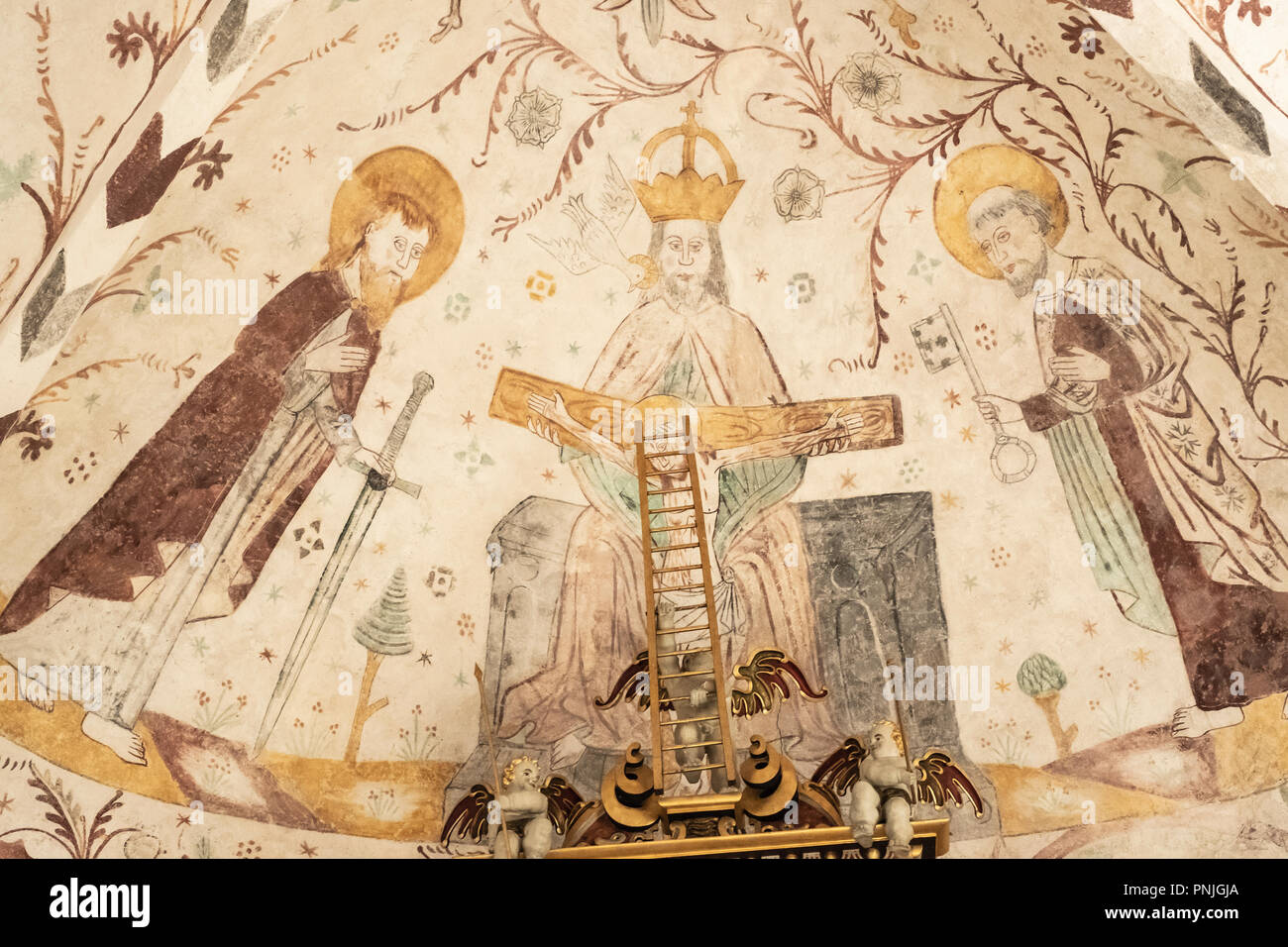Innenansicht der Kirche Elmelunde mit Wandmalereien von der Elmelunde Master, Moen Island, Dänemark, Skandinavien, Europa. Stockbild