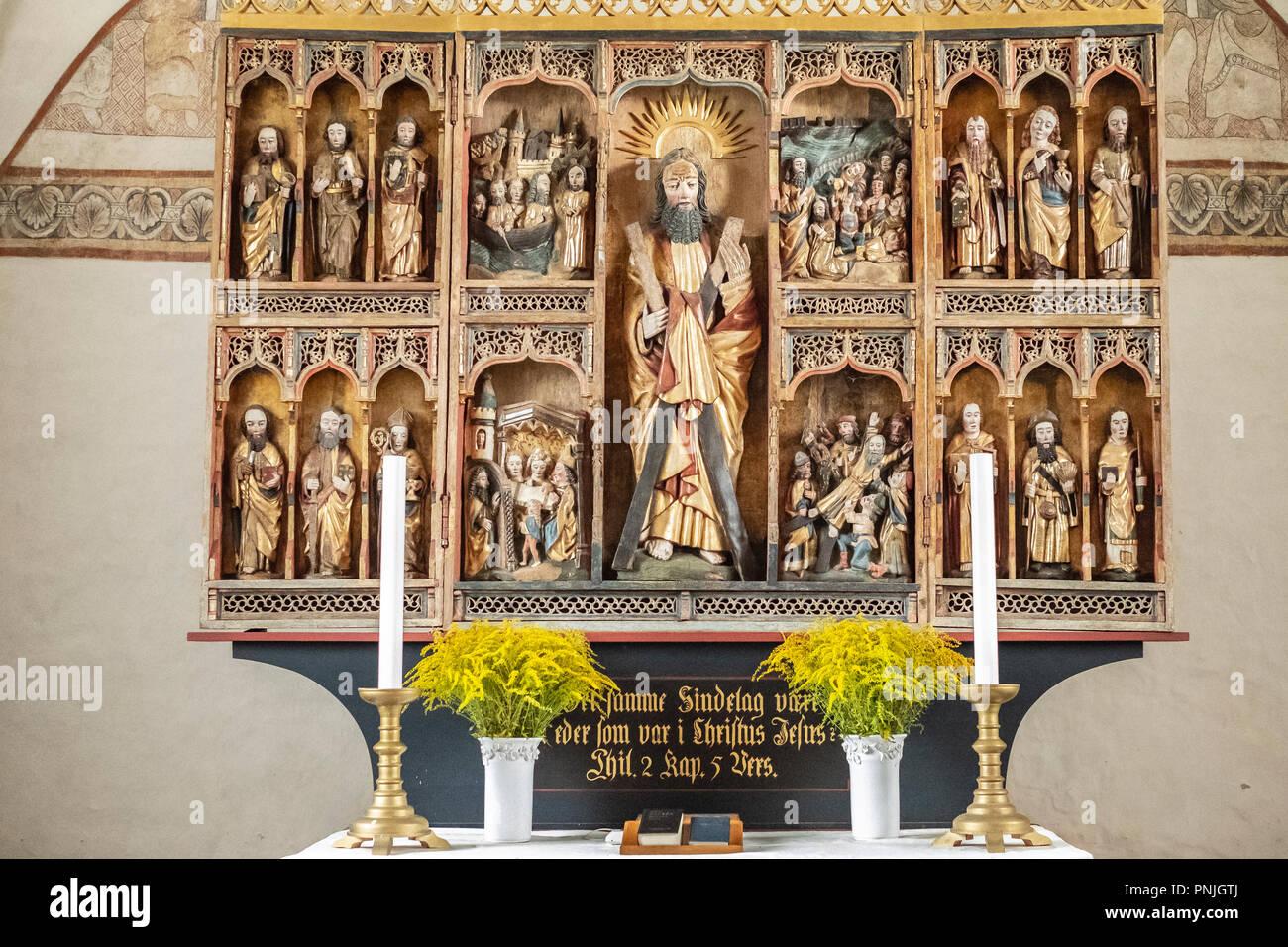 Der Altar der Kirche Keldby, Moen Island, Dänemark, Skandinavien, Europa. Stockbild