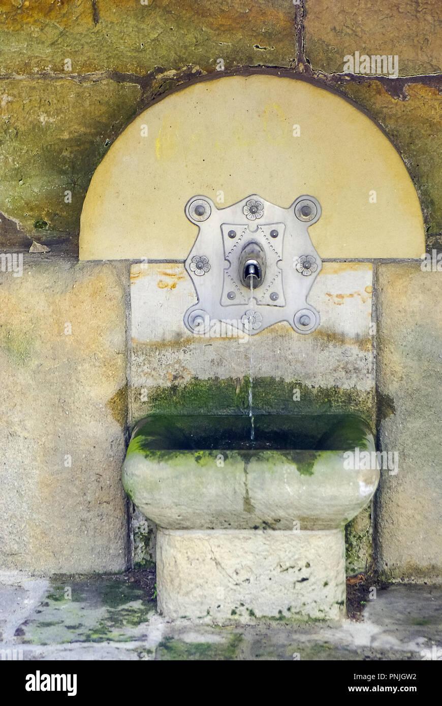 Kleine öffentliche Brunnen, Koenigstein, Elbsandsteingebirge, Sachsen. Stockfoto
