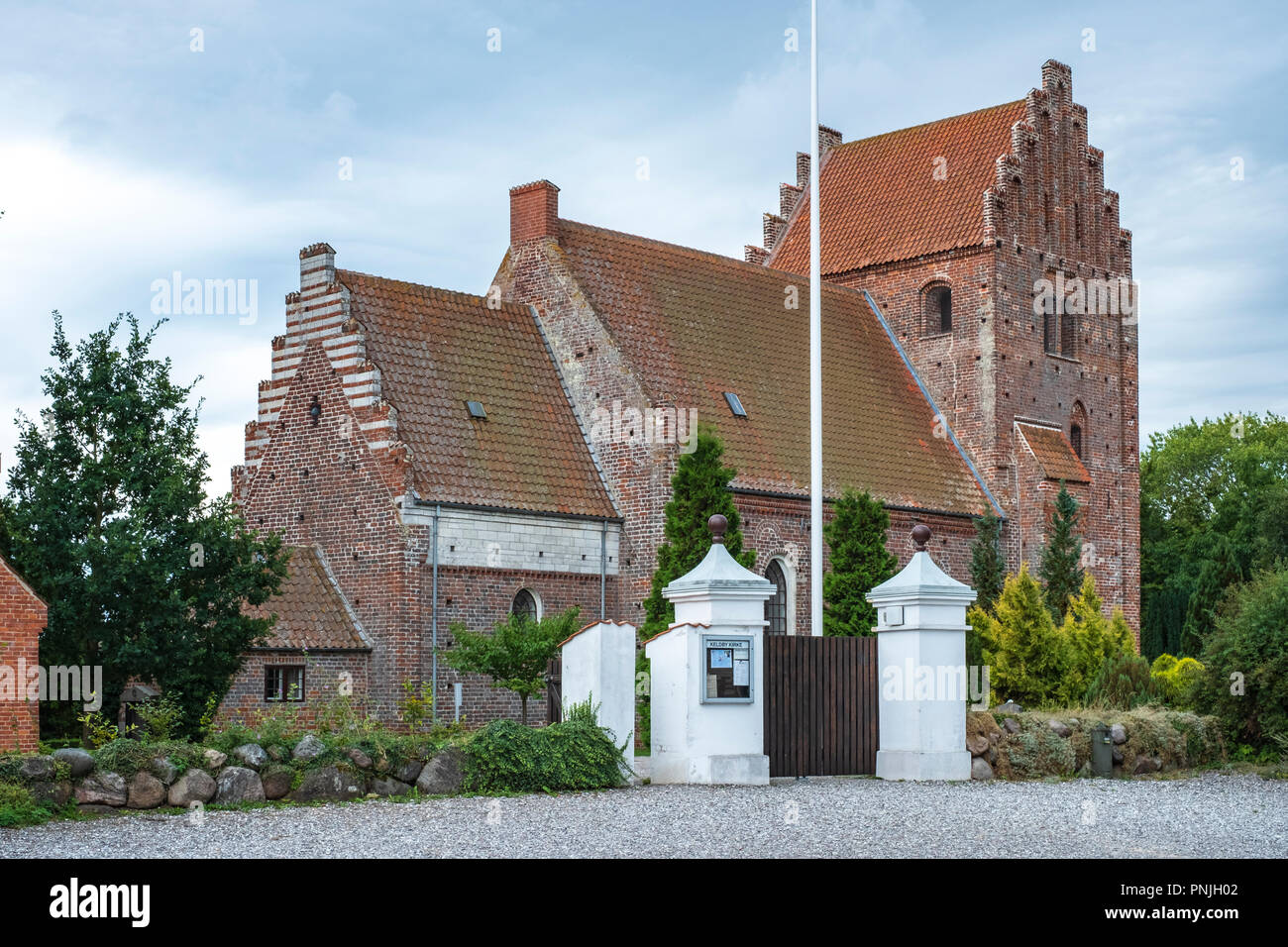 Außenansicht der Kirche Keldby, Moen Island, Dänemark, Skandinavien, Europa. Stockbild
