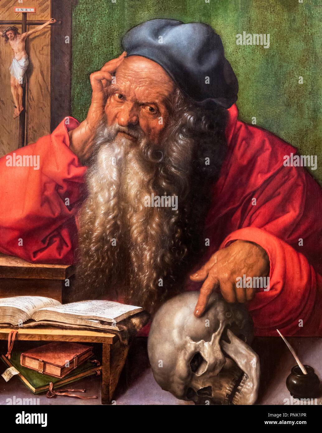 Der hl. Hieronymus von Albrecht Dürer (1471-1528), Öl auf Leinwand, 1521 Stockbild
