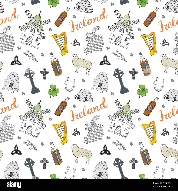 Irland Karte.Irland Skizze Doodles Nahtlose Muster Irische Elemente Mit