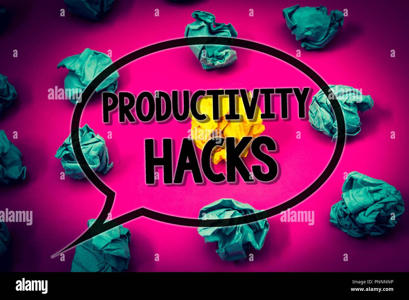 Handschrift Text Produktivitat Hacks Begriff Sinne Hacking Losung
