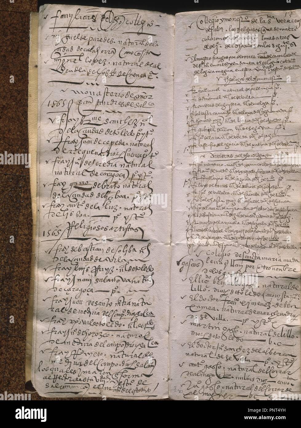 LIBRO DE MATRICULA -1565-6 - LISTA - ENTRE ELLOS S JUAN D LA CRUZ. Ort: UNIVERSIDAD BIBLIOTECA. SALAMANCA. Spanien. Stockfoto