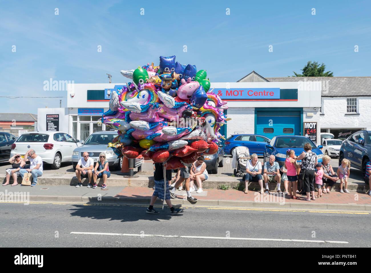 Abergele Karneval und Schicksal 14. Juli 2018 an der Küste von Nordwales Stockfoto