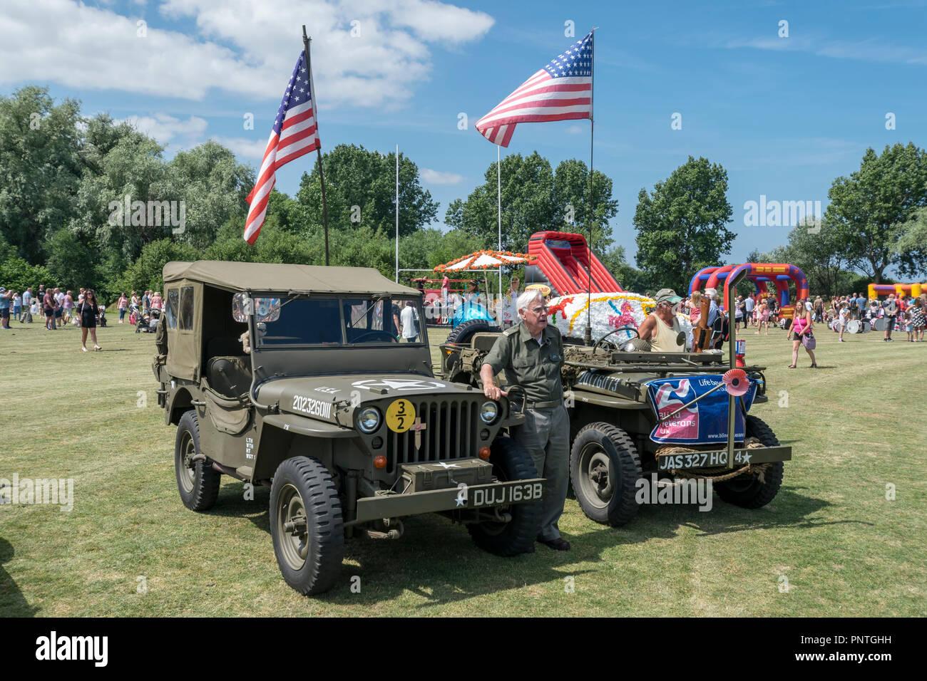 Abergele Karneval und Schicksal 14. Juli 2018 an der Küste von Nordwales Willys Jeep Aussteller Stockfoto