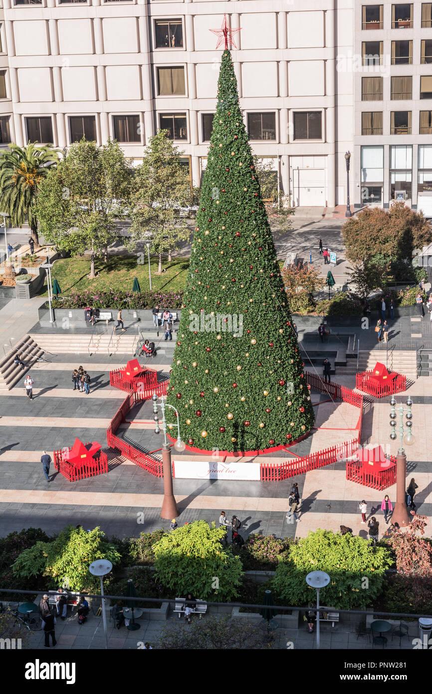 Union Square an Weihnachten, San Francisco Stockfoto, Bild ...