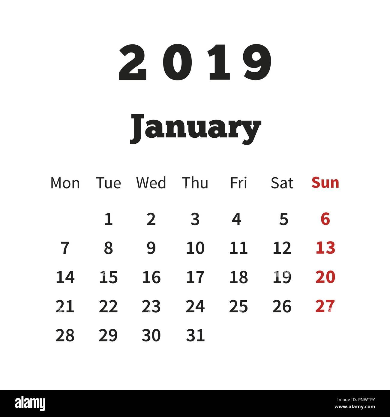 einfacher kalender januar 2019 jahr mit woche ab montag. Black Bedroom Furniture Sets. Home Design Ideas