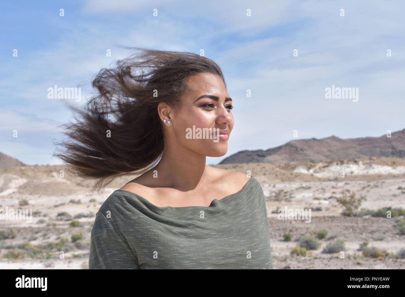 Wind Blowing Mixed Race Hair Stockfotos & Wind Blowing Mixed Race ...