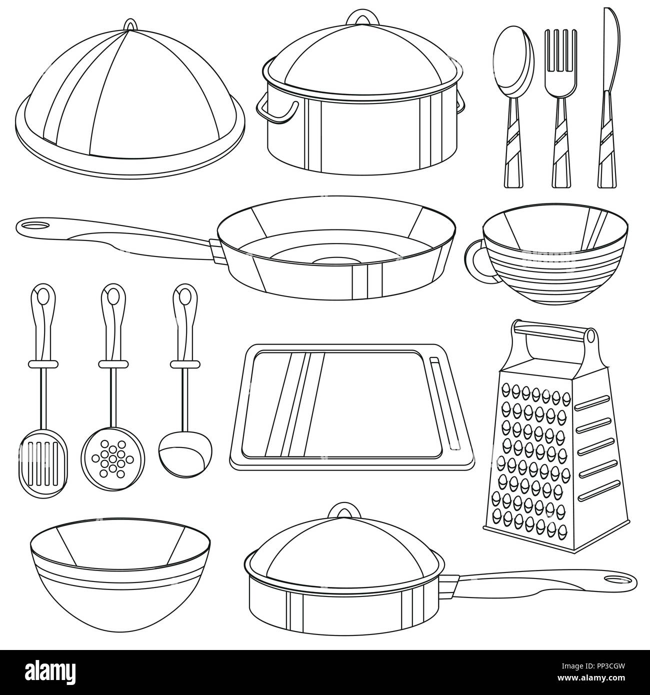 Kuchenutensilien Malbuch Vector Illustration Fur Kinder Stock Vektorgrafik Alamy