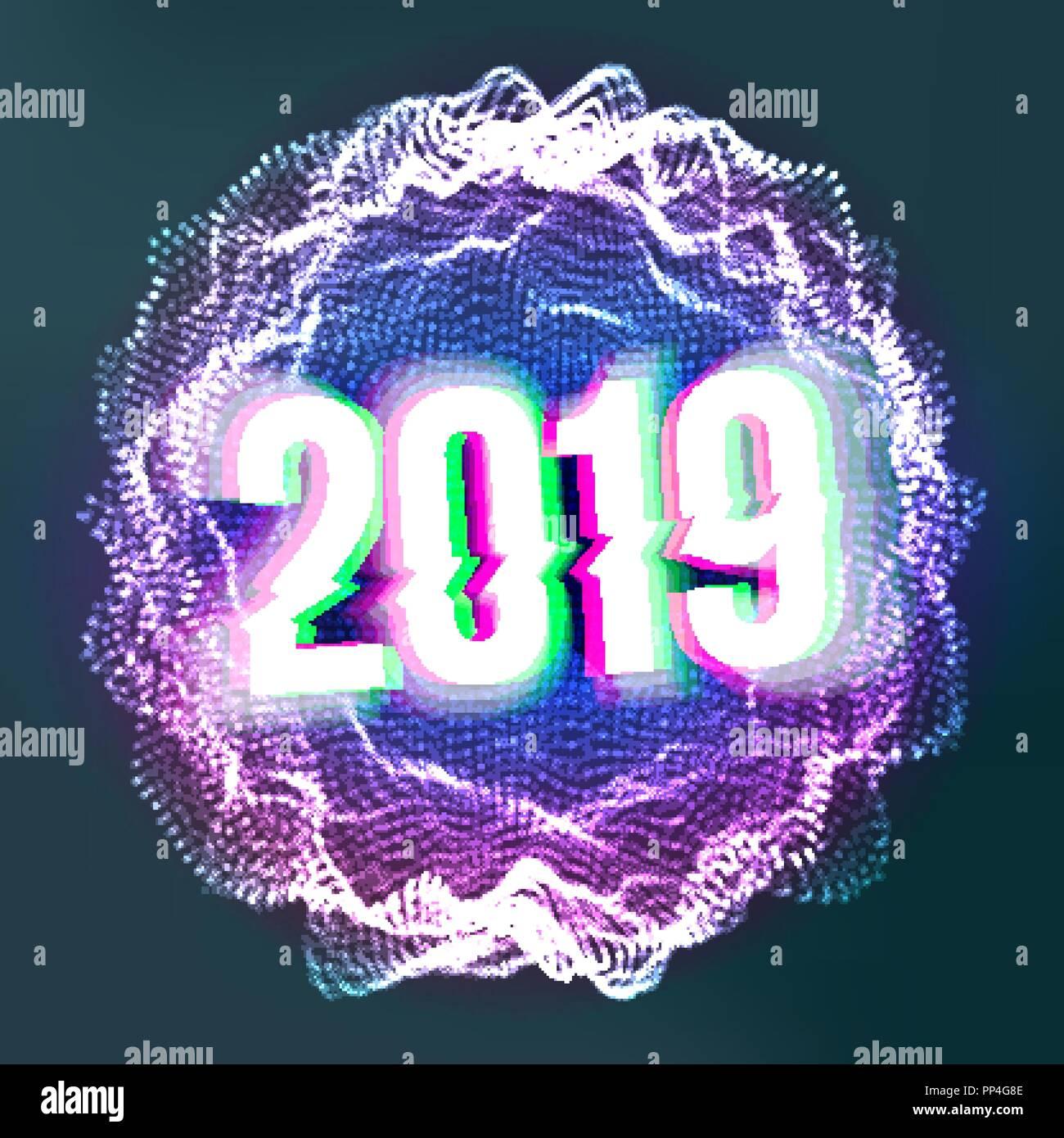 Deko Weihnachten 2019.2019 Frohes Neues Jahr Hintergrund Vektor Deko Element