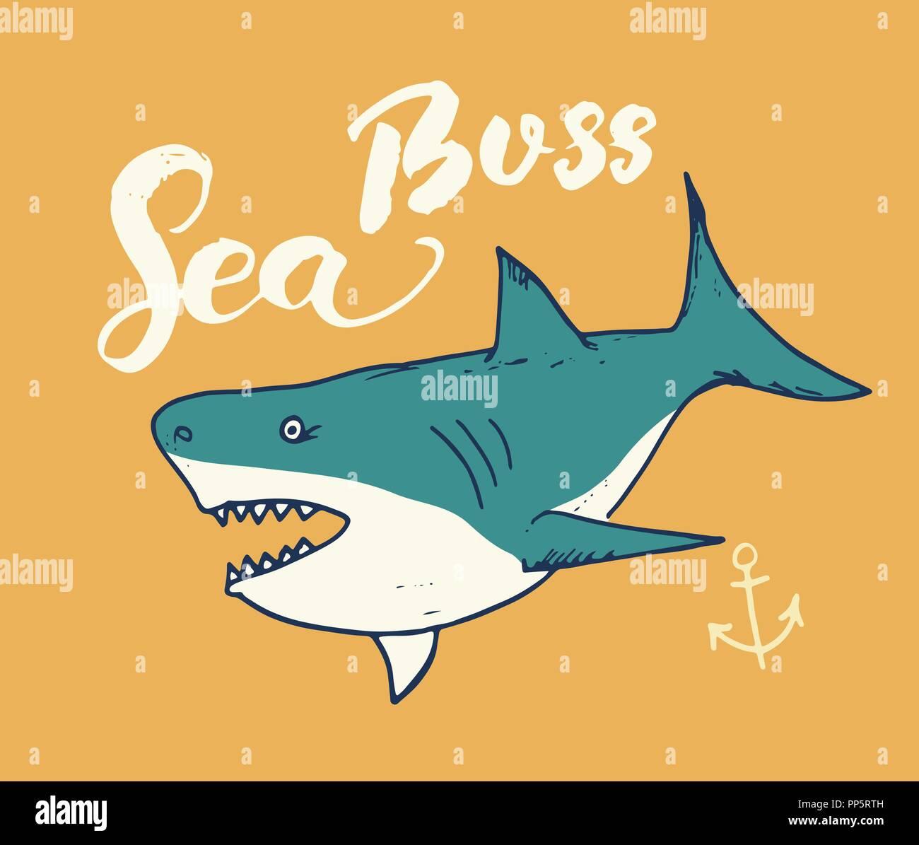 Süße Shark Hand Gezeichnete Skizze Ein T Shirt Drucken Design