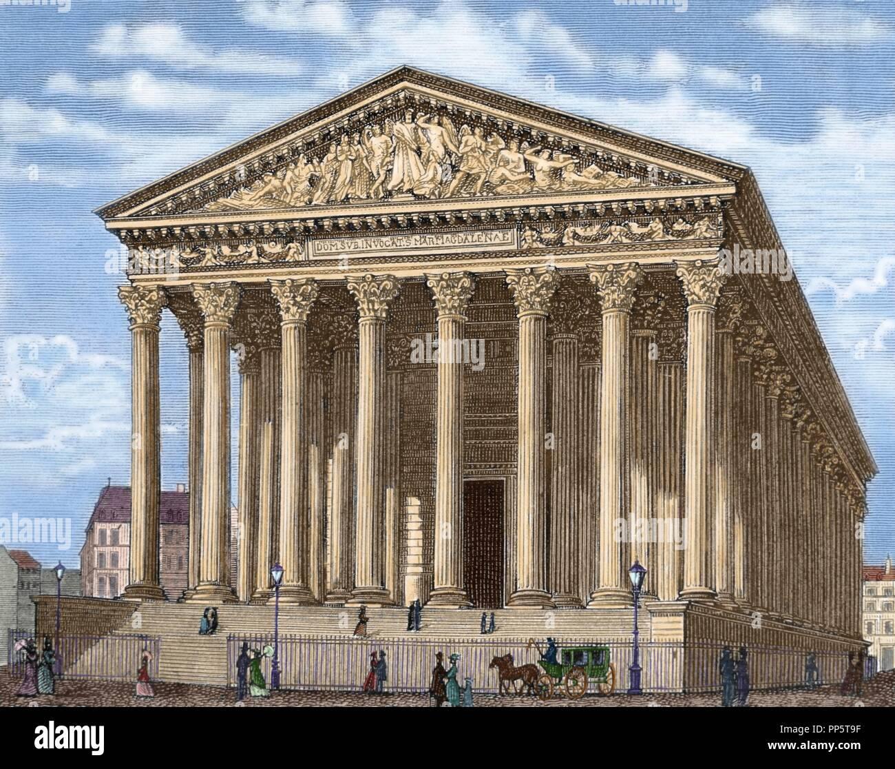 La Madeleine (L'e_glise de la Madeleine). 1806 Erbaut, wurde es als ein Tempel für die Herrlichkeit von Napoleons Armee konzipiert. Paris. Frankreich. Farbige Gravur. Stockfoto