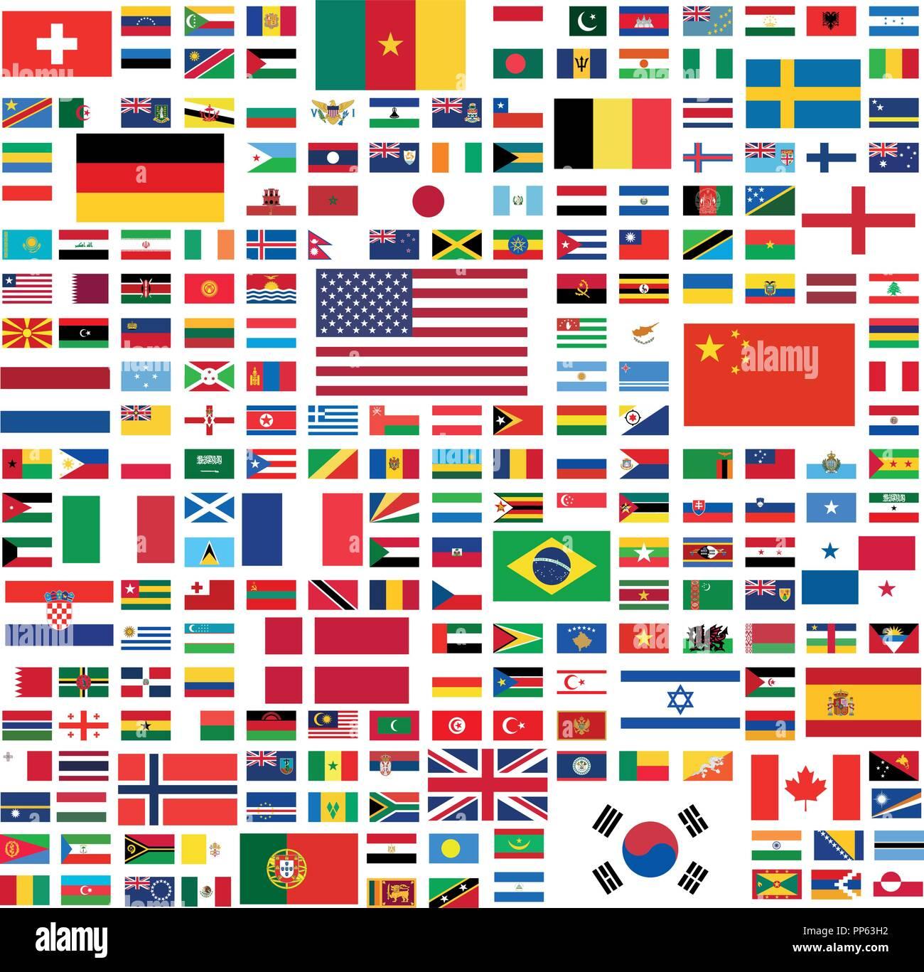 Alle Nationalen Flaggen Der Welt Mit Namen In Hoher Qualität Vektor
