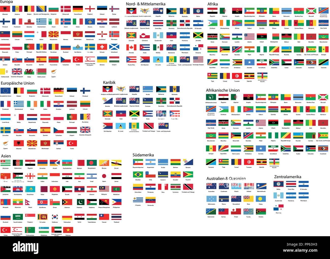 Welt Fahnen Mit Namen
