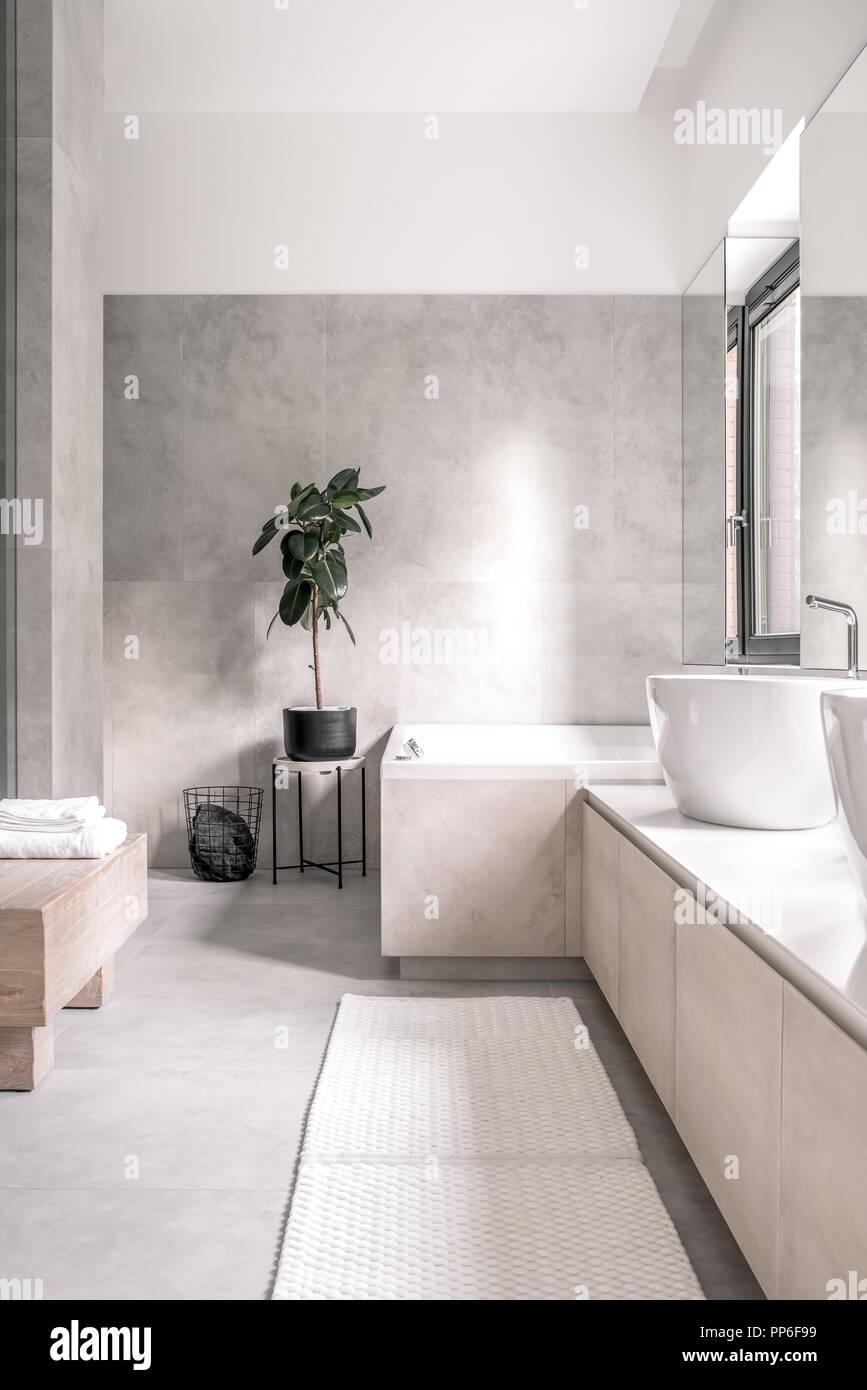 Badezimmer in einem modernen Stil mit weißen und grauen Wänden. Es ...