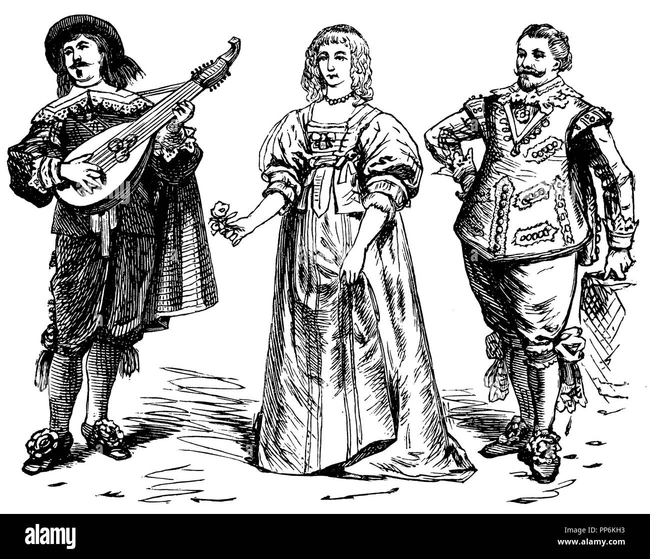 Alter des Dreißigjährigen Krieges (1600-1650), links: Lautenspieler (1635), Mitte: Gräfin Devon, rechts: Moritz von Orange (1620), anonym 1896 Stockbild
