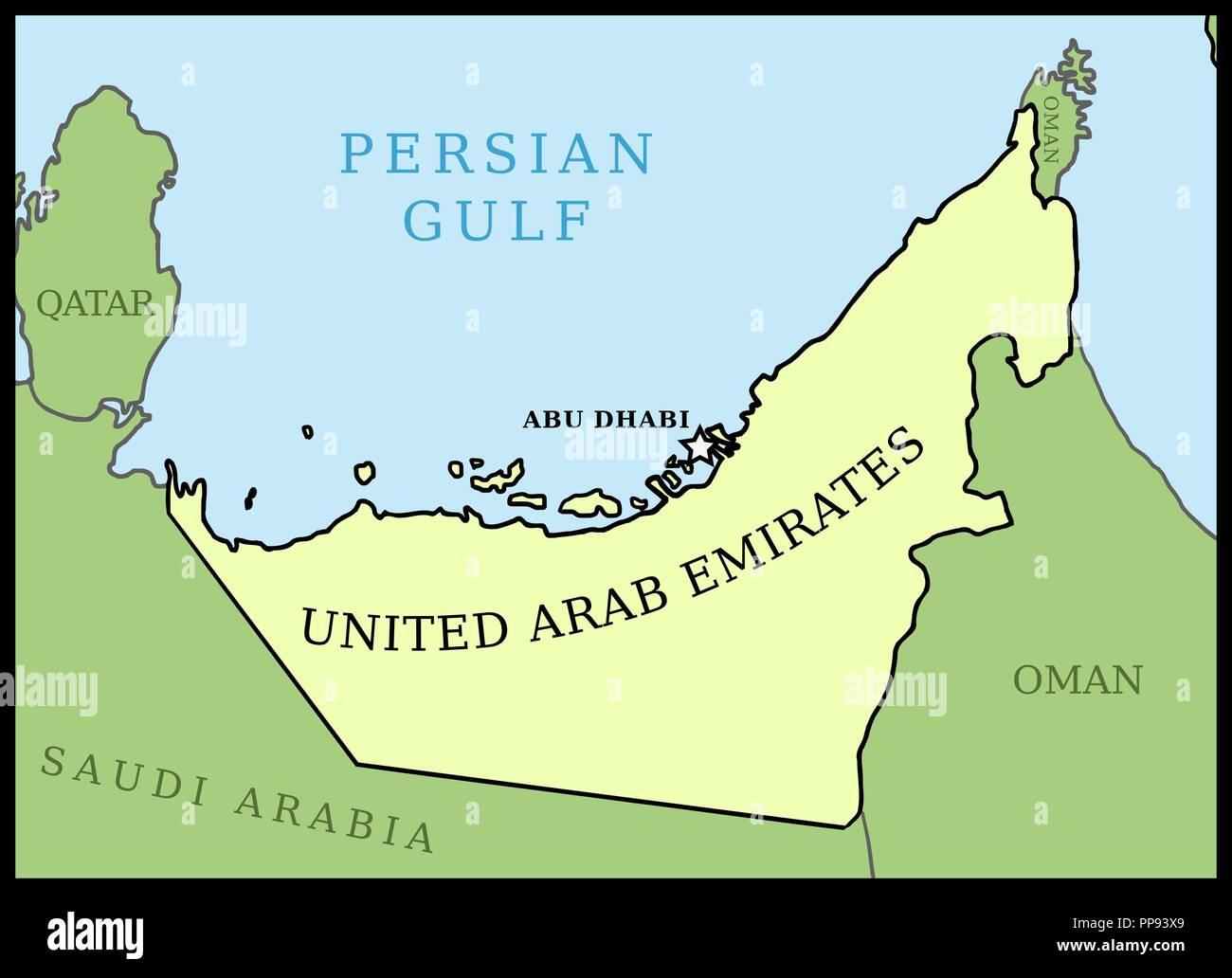 Vereinigte Arabische Emirate Vae Karte Umrisse Vektor Land