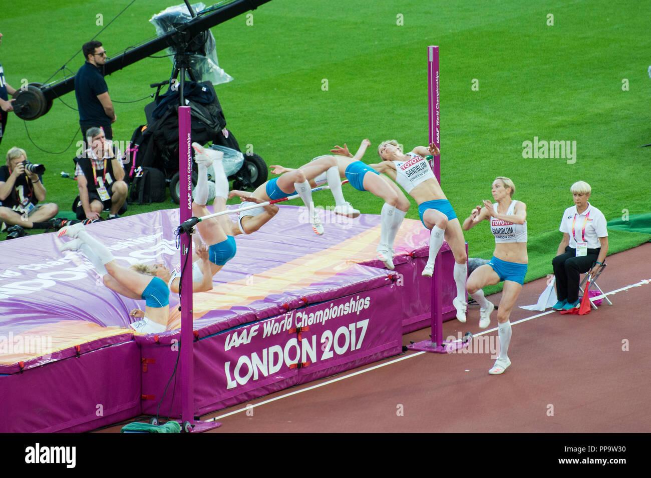 Zeitrafferaufnahmen hoch springen an der London 2017 Leichtathletik-Weltmeisterschaft Stockbild