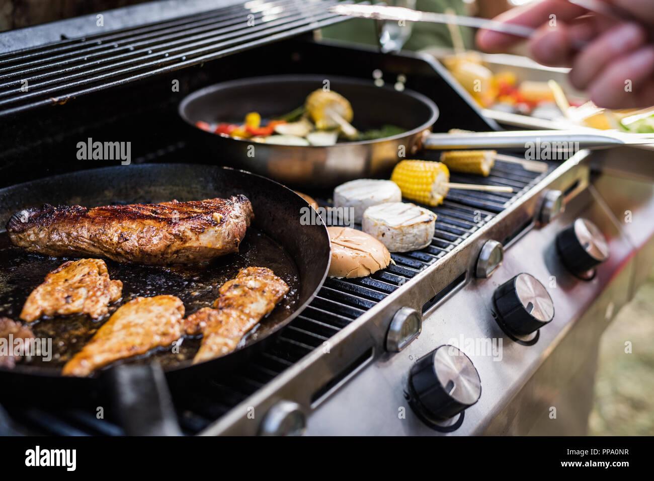 Fleisch Und Wurst Auf Den Grill Garden Party Ausserhalb Im
