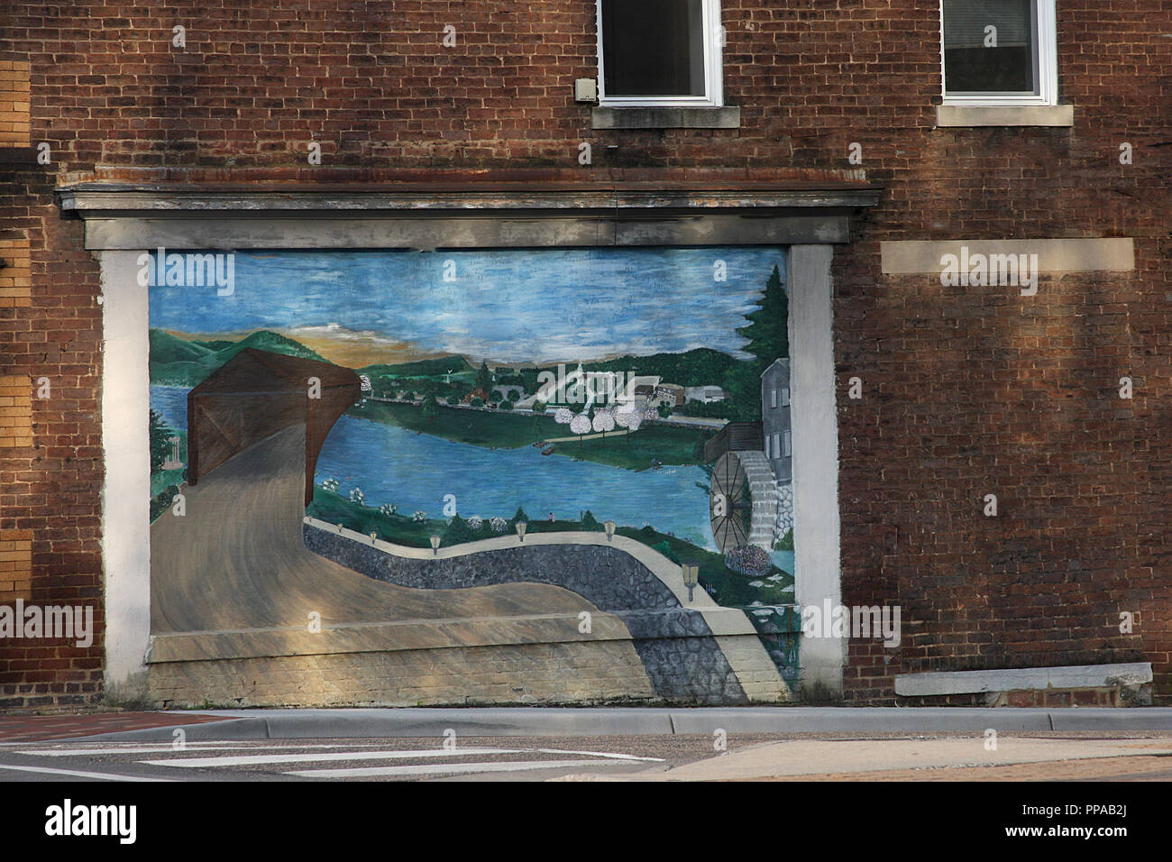 Wandbild in der Innenstadt von Harrisonburg, Virginia Stockbild
