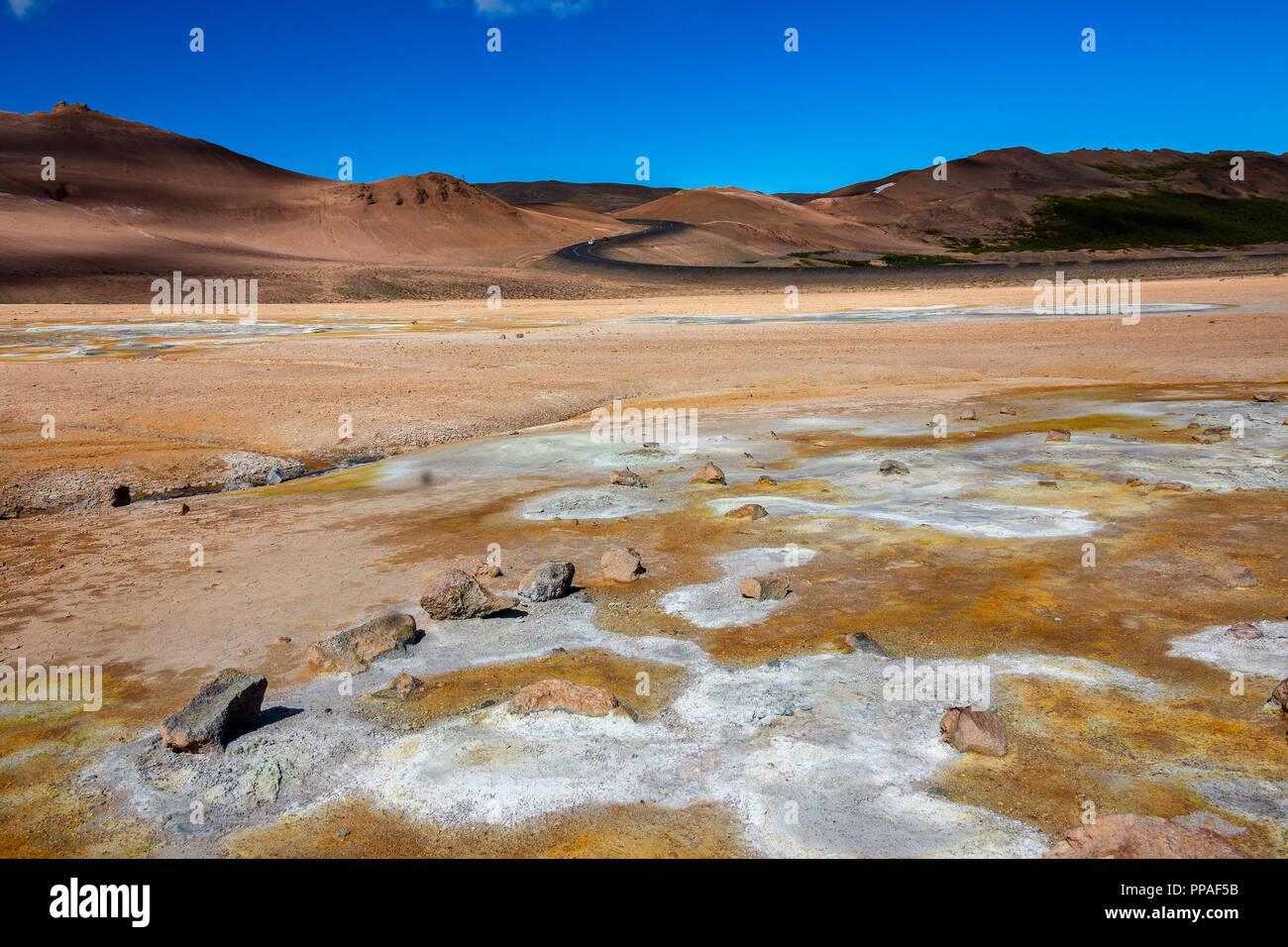 Namafjall Hverir geothermale Region Island. Stockbild