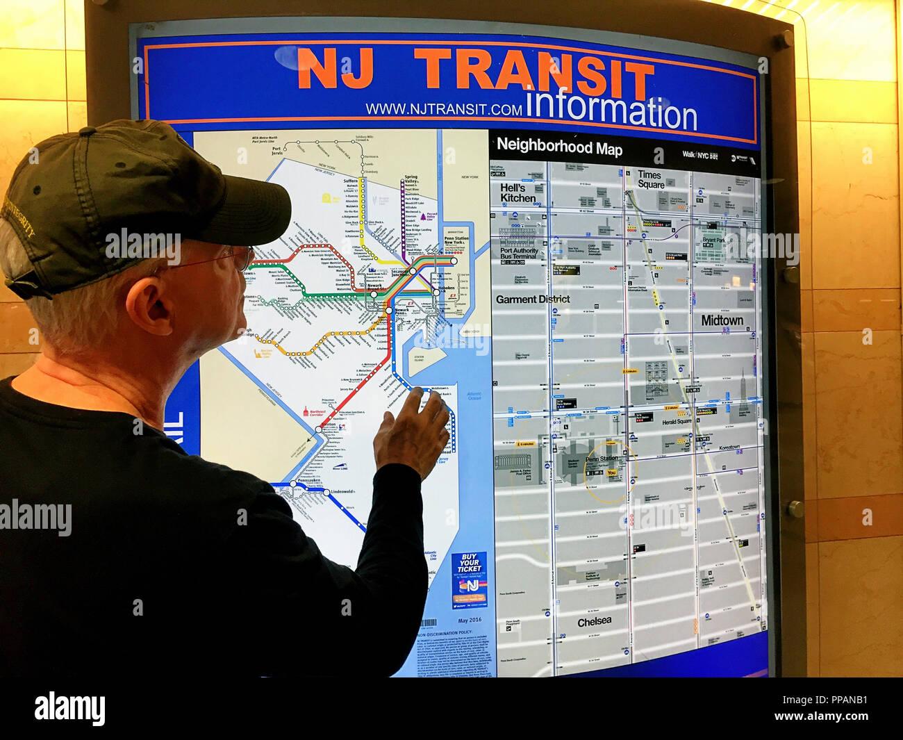 New Jersey Transit Karte, Penn Station, NEW YORK Stockbild