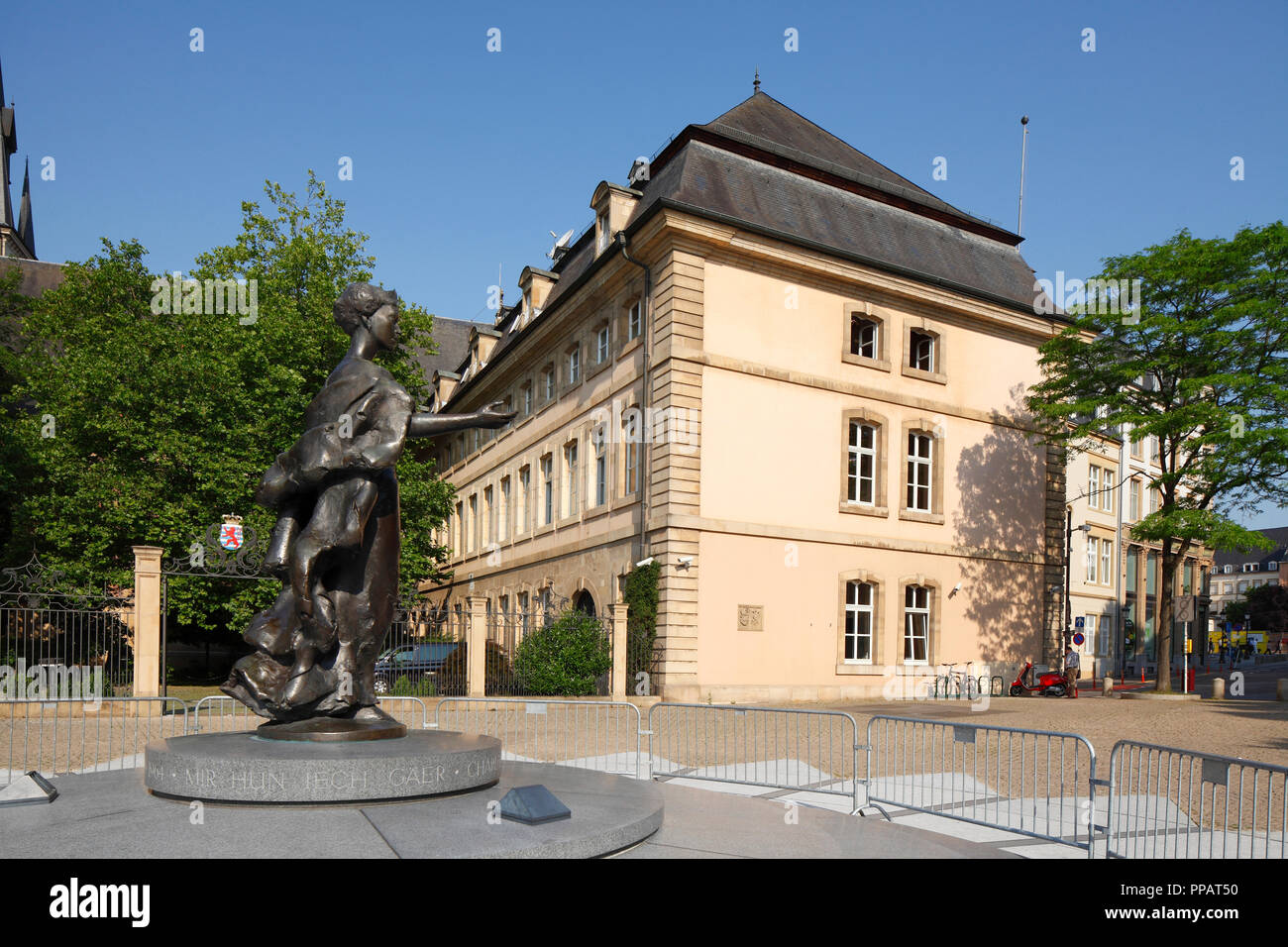 Großherzogin Charlotte Denkmal am Clairefontaine, Luxembourg City, Luxemburg, Europa ich Großherzogin Charlotte Denkmal bin Clairefontaine-Plat Stockfoto