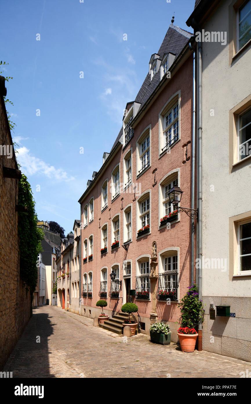 Altes haus Fassaden, untere Stadt Wengen, der Stadt Luxemburg, Luxemburg, Europa ich alte Hausfassaden, Unterstadt Grund, Luxemburg-Stadt, Luxemburg, Europa I Stockfoto