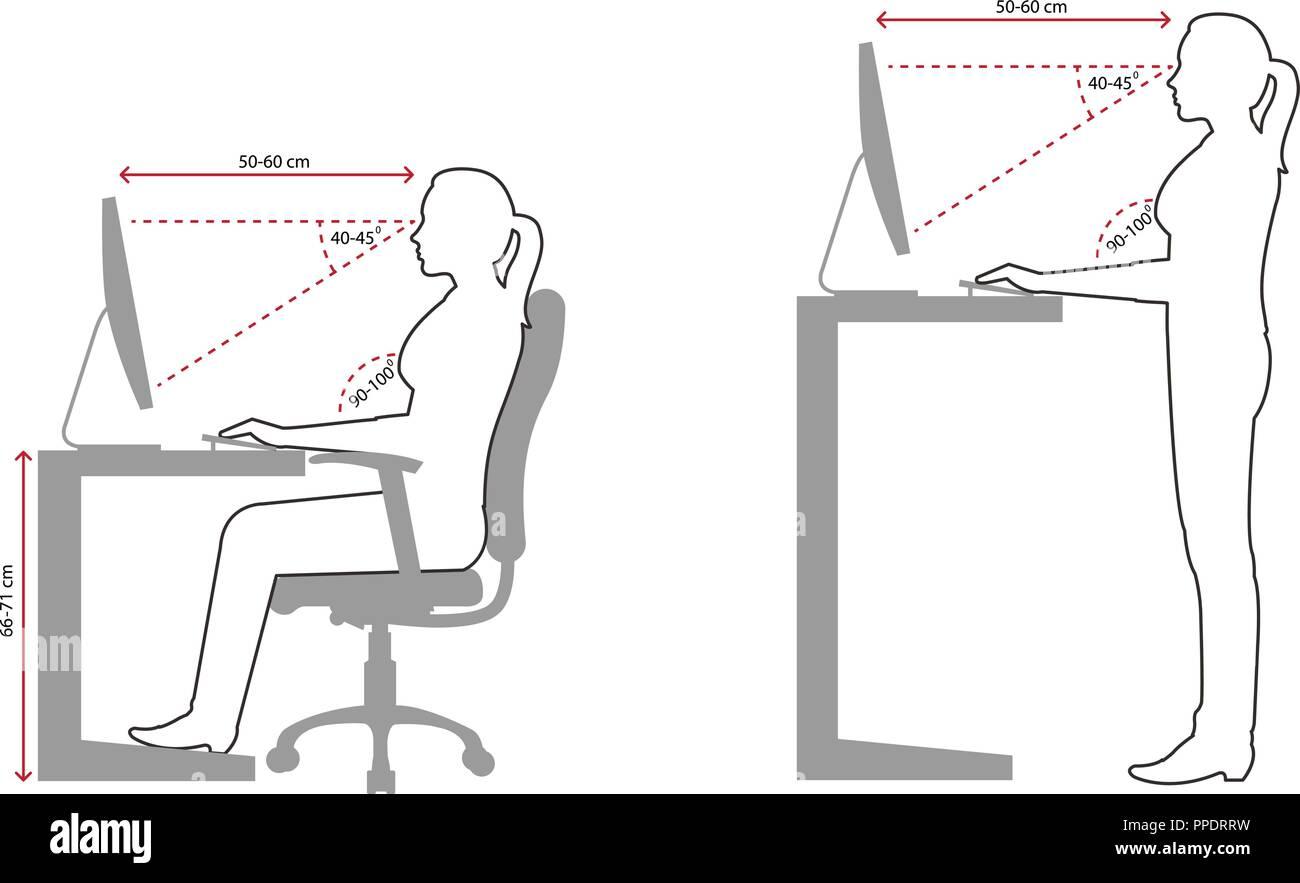 Ergonomie Silhouette Für Richtige Und Falsche Sitzhaltung Bei Der