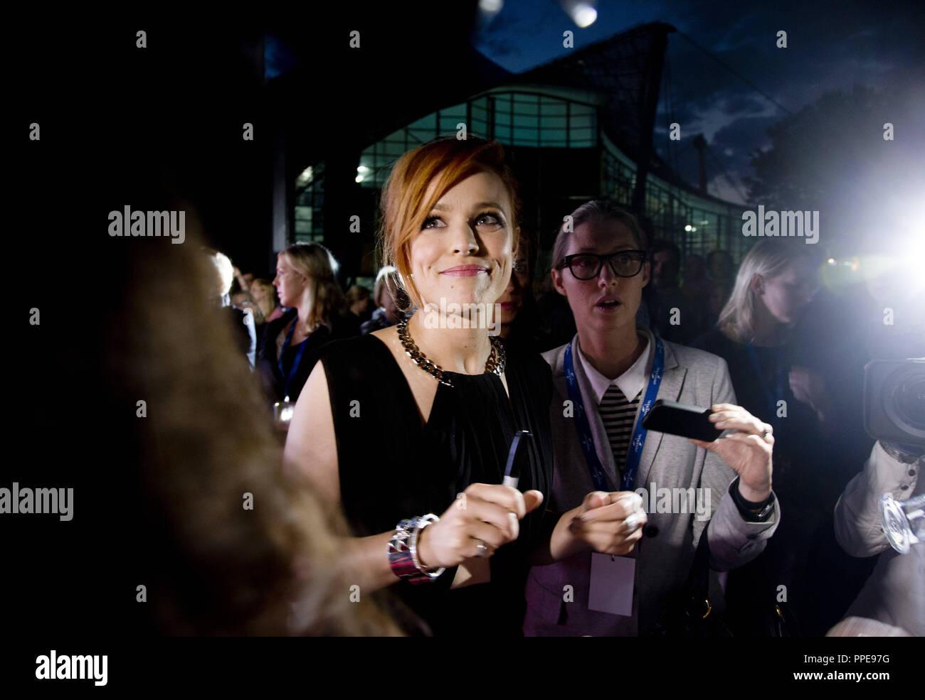 Schauspielerin Rachel McAdams auf die Deutsche Premiere des Films 'Zeit' an der Open-Air-Kino am Olympiasee. Stockbild