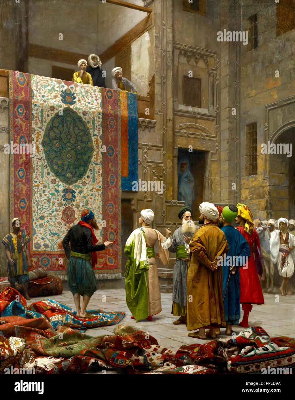 Jean-Leon Gerome, der Teppich Kaufmann/Teppich Kaufmann in Kairo. Circa 1887. Öl auf Leinwand. Institut für Kunst in Minneapolis, USA. Stockbild