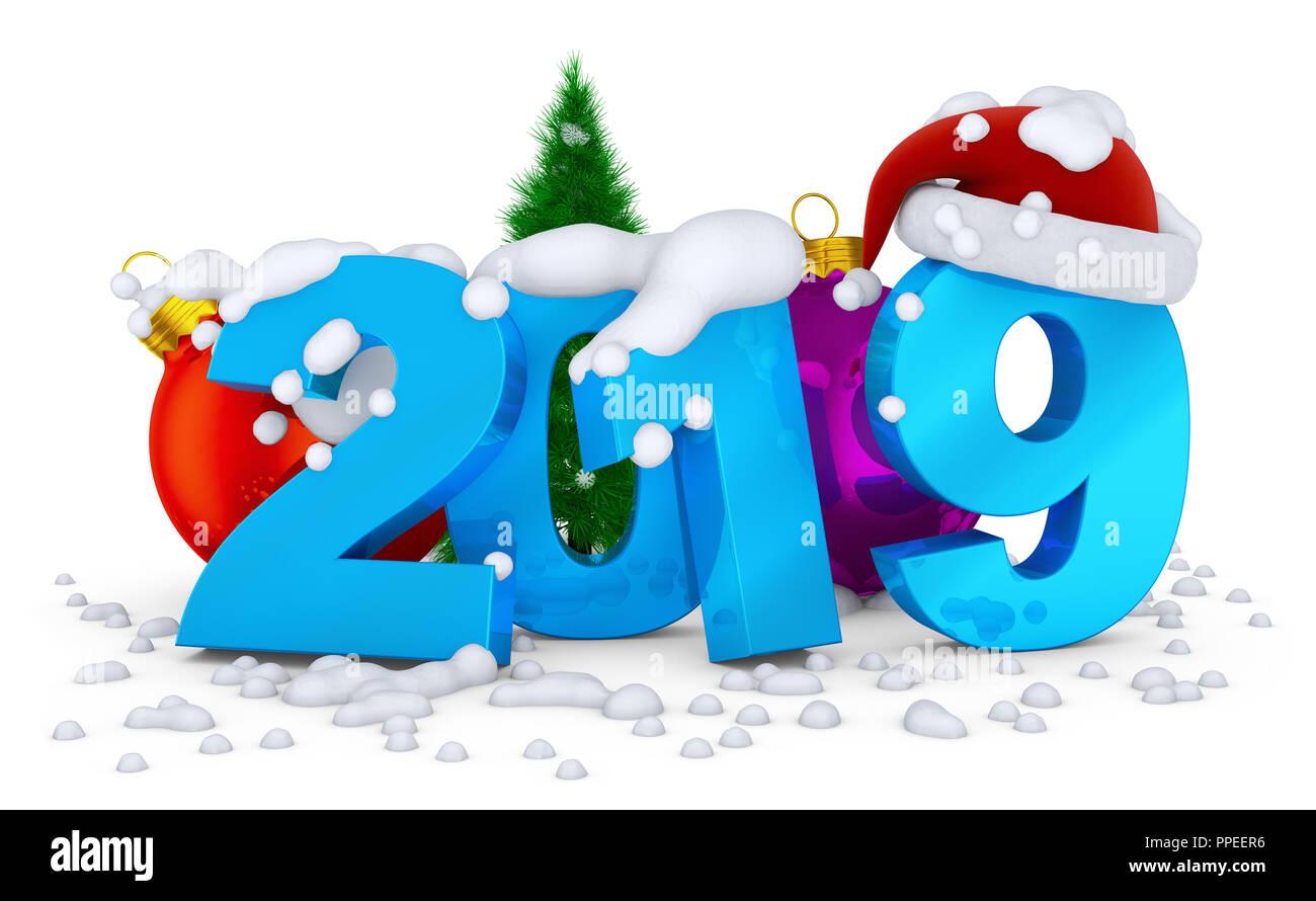 Wie Fällt Weihnachten 2019.Die Zahlen 2019 Und Ball Weihnachten Baum Auf Dem Sich Der Schnee