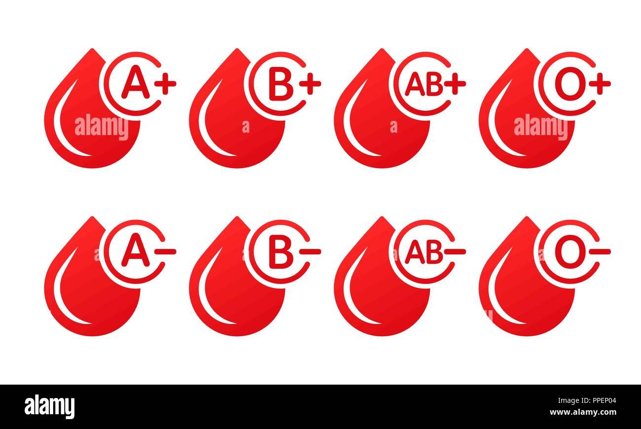 Blutgruppe Vector Icons auf weißem Hintergrund. Tropfen Blut mit Blut Art. Spende Blut Stock Vektor