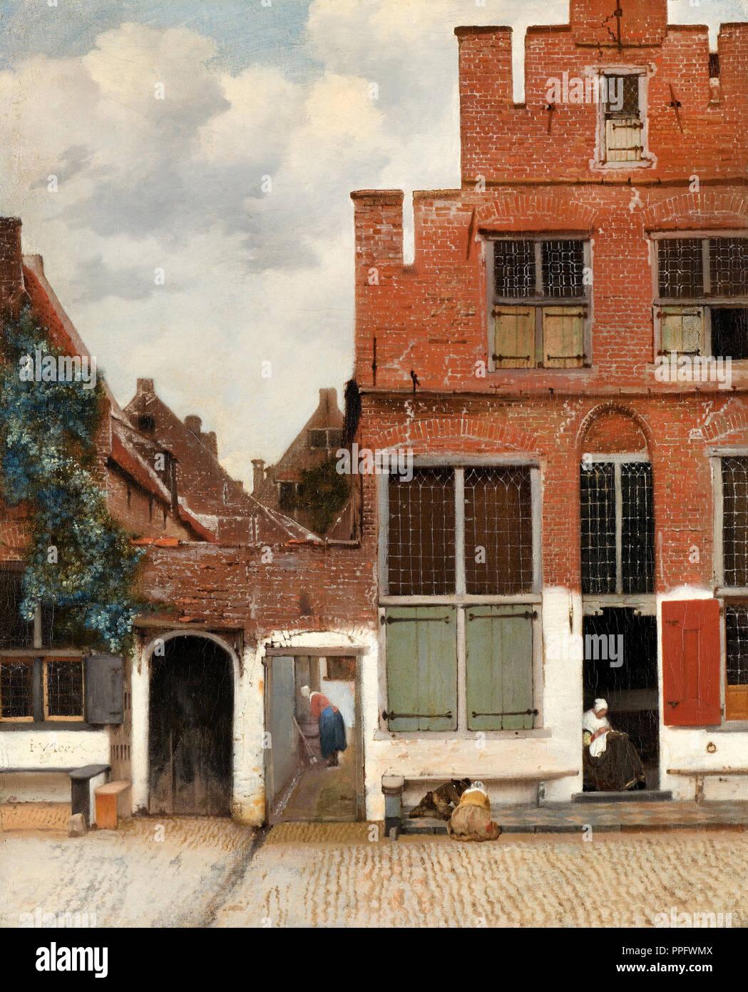 """Johannes Vermeer - Blick auf die Häuser in Delft, wie """"Die kleine Straße"""" bekannt. Circa 1658. Öl auf Leinwand. Rijksmuseum Amsterdam, Niederlande. Stockbild"""