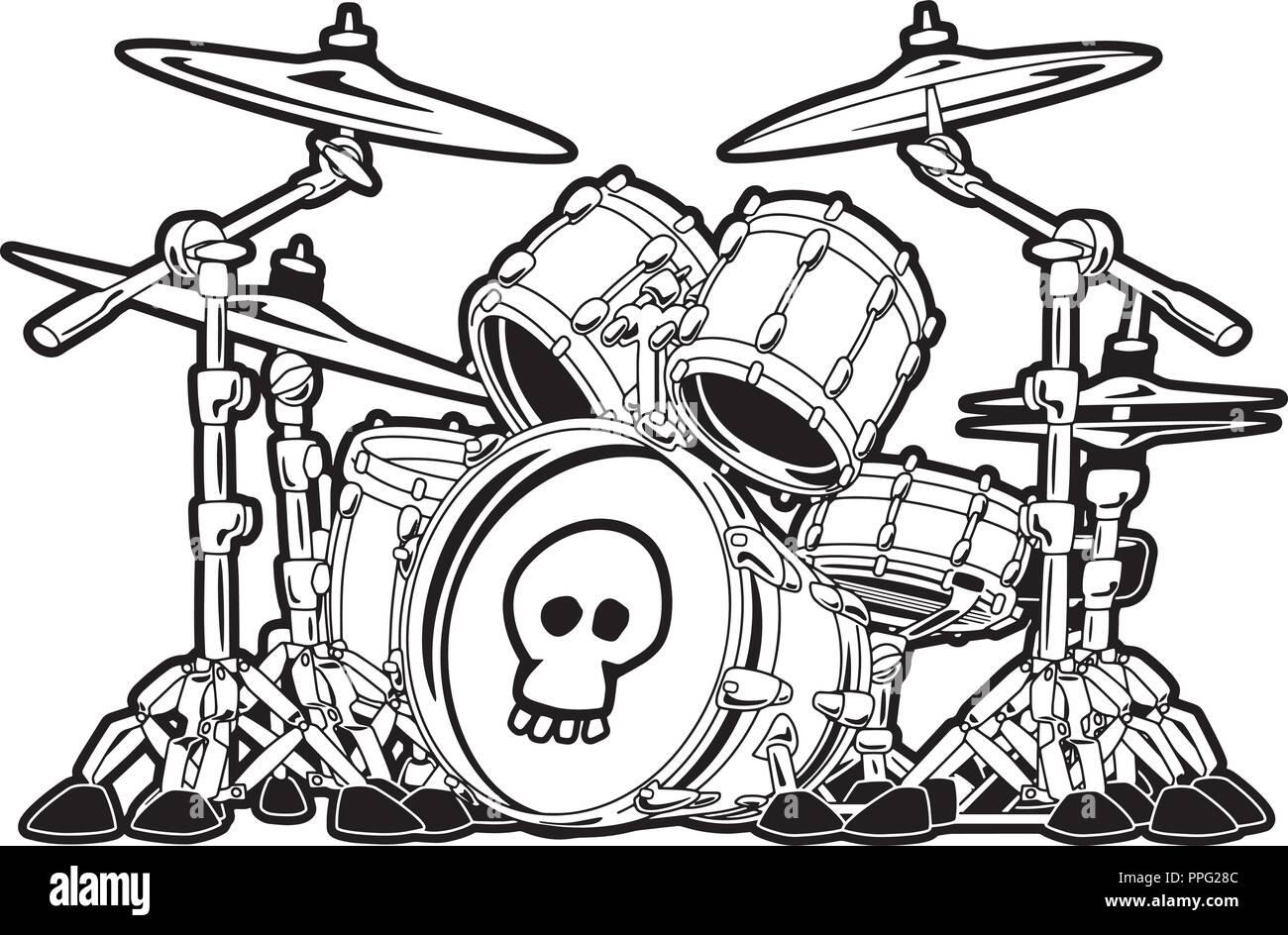 Rock Drum Set Cartoon Vector Illustration Vektor Abbildung Bild